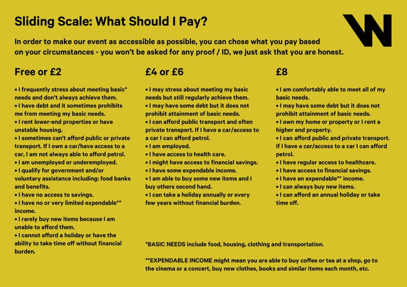 "Black text on yellow - ""Sliding Scale: What Should I Pay"", followed by three columns of text"