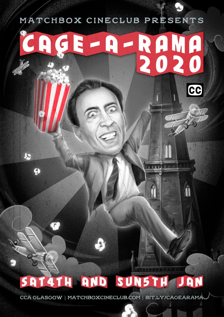 Poster for Cage-a-rama 2020, feauring an illustration of Nicolas Cage climbing Glasgow Cathedral a la King Kong (https://veronavarro.com/)