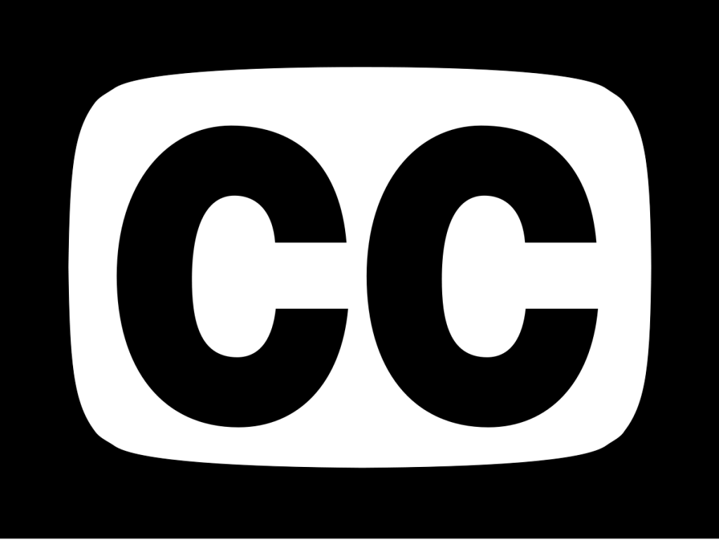 "Black and white Closed Captions logo: The letters ""CC"" encased in a television screen shape"