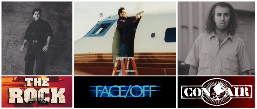 Three images featuring Marco Kyris standing in for Nicolas Cage on film sets - The Rock, Face/Off and Con Air. (https://www.mkyris.com/)
