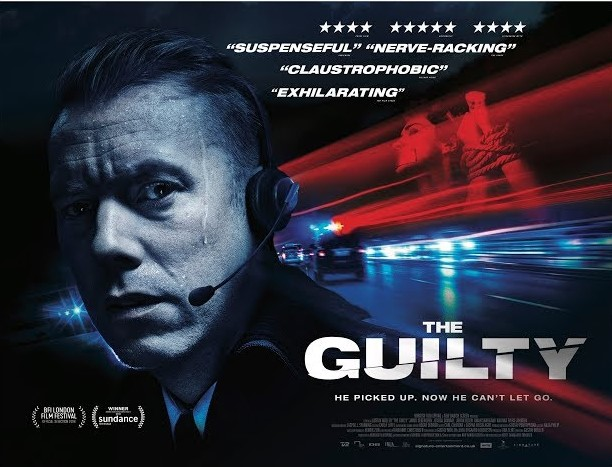Quad poster for The Guilty, close-up of head of sweating man wearing telephone headset, superimposed images of racing cars and gagged woman tied with ropes