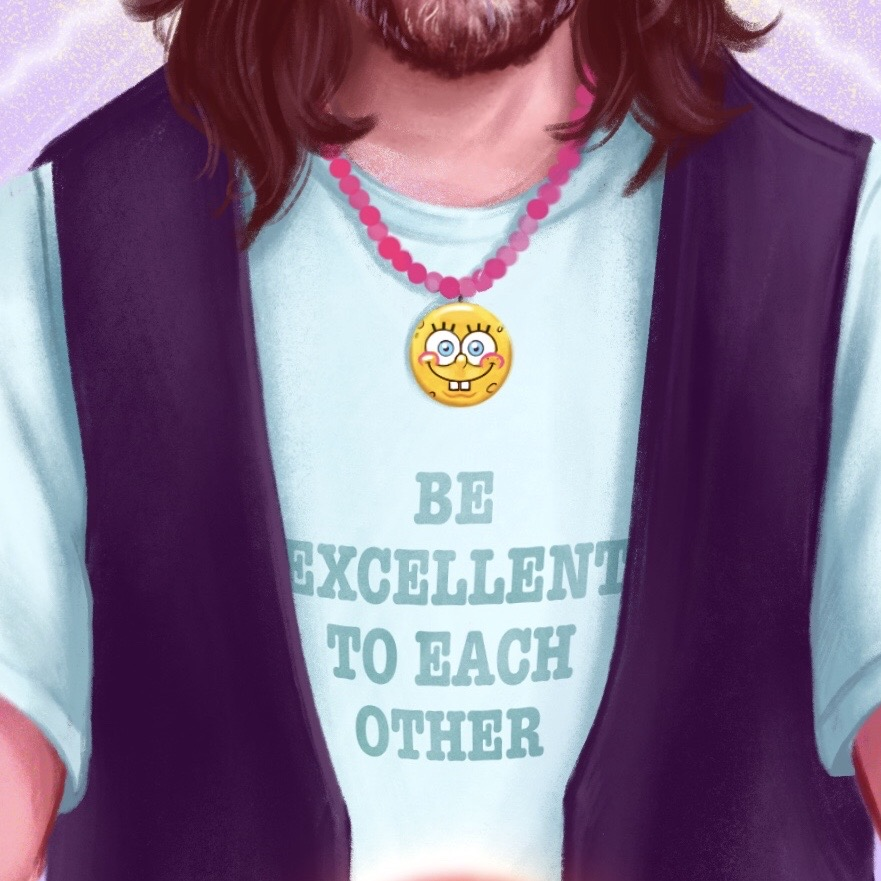 "Detail of illustration: Bearded Keanu Reeves wears Ted waistcoat and Spongebob medallion, over t-shirt that reads: ""Be Excellent to Each Other"""