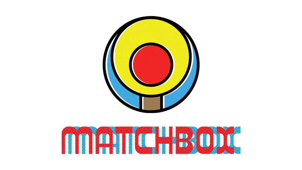 Matchbox logo - stylised lit match, with text in overlapping blue and red: MATCHBOX